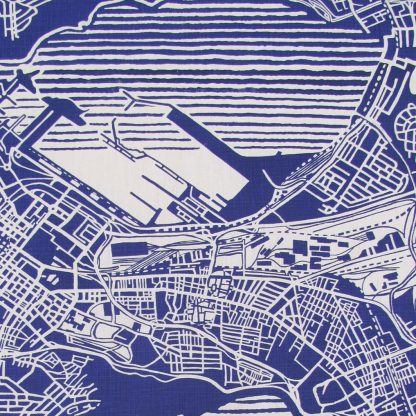 Cape Town weave delft blue on white