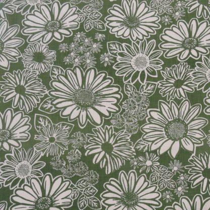 Namaqua Daisy: kale green on white