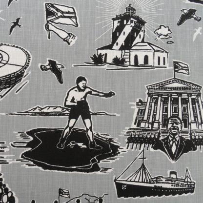 No man is an Island: grey, black on white