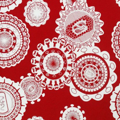 Positive power: white paste on red