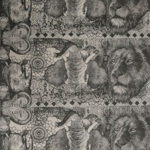 Money Animals: charcoal on natural