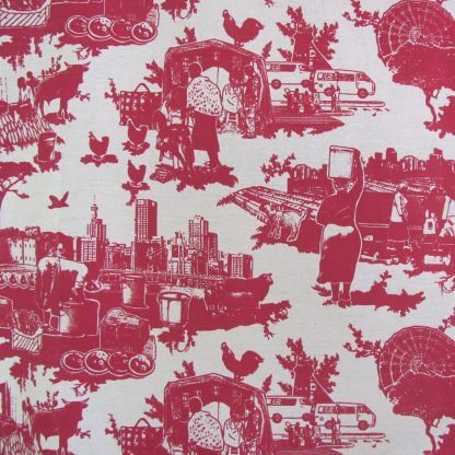 Toile du Jozi: wine red on cotton linen
