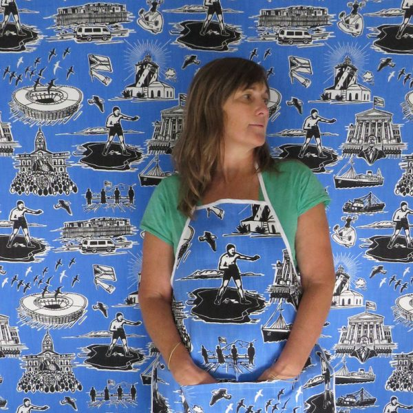 No man is an Island: blue, black on white - wallpaper and apron