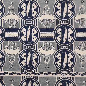 4 Aces navy on cotton linen