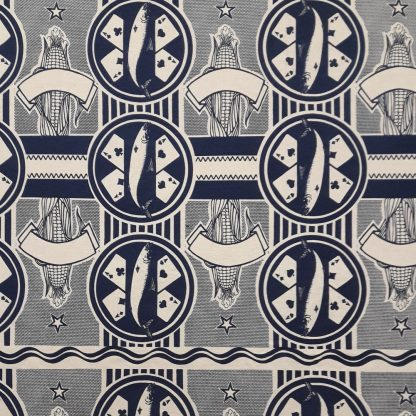 4 Aces navy on cotton linen