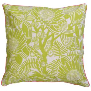 After the fire cushion: 60cm x 60cm - chartreuse on natural