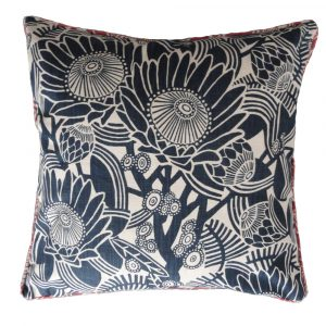 After the fire cushion: 60cm x 60cm - navy on natural