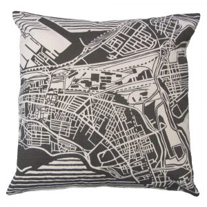 Cape Town Weave: 60cm x 60cm - charcoal on natural - front