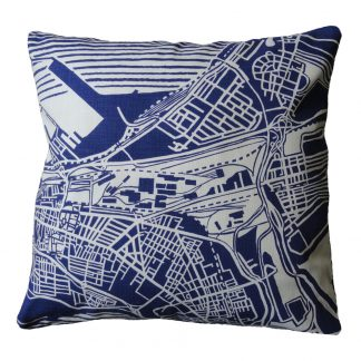 Cape Town Weave: delft blue on white - 60cm x 60cm - front