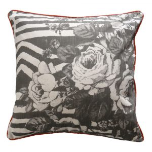 iRose: 60cm x 60cm - charcoal on natural with piping - front
