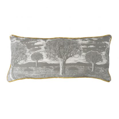 Kokerboom over-sized cushion: 1.2m x 45cm - charcoal on cotton linen with piping