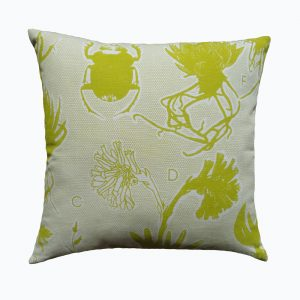 Liliaceae: 45cm x 45cm - chartreuse on cotton linen