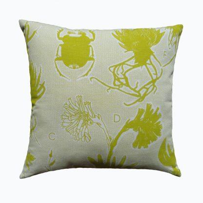Liliaceae: 45cm x 45cm - chartreuse on cotton linen
