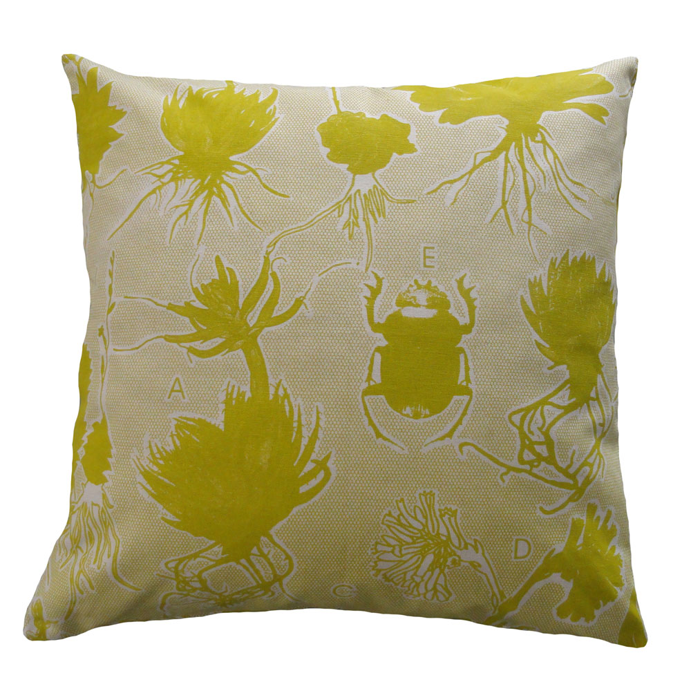 Liliaceae: 60cm x 60cm - chartreuse on cotton linen