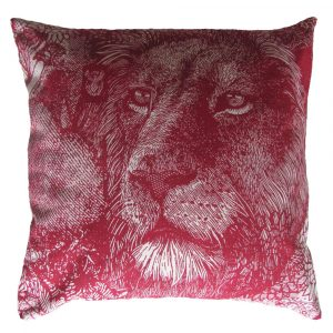 Money Animals: 60cm x 60cm - deep red on natural - front