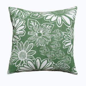 Namaqua Daisy: 45cm x 45cm - kale green on white