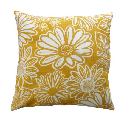 Namaqua Daisy: 45cm x 45cm - mustard on white