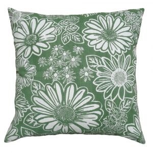 Namaqua Daisy: 60cm x 60cm - green kale on white
