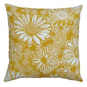 Namaqua Daisy: 60cm x 60cm - mustard on white