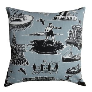 No Man is an Island cushion: 60cm x 60cm - black grey on white