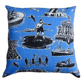 No Man is an Island cushion: 60cm x 60cm - black sky blue on white