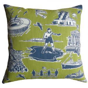 No Man is an Island cushion: 60cm x 60cm - navy chartreuse on white
