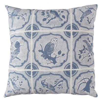Our birds: 60cm x 60cm - blue grey on cotton linen