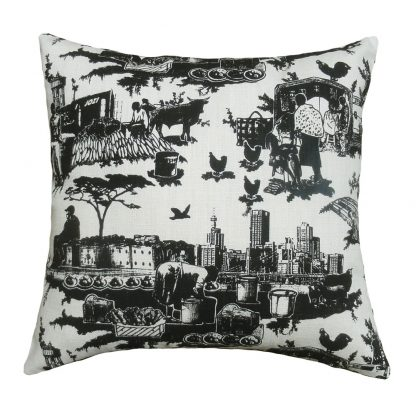 Toile du Jozi: 45cm x 45cm - black on natural