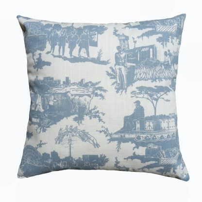 Toile du Jozi: 45cm x 45cm -blue grey on natural