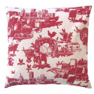 Toile du Jozi: 45cm x 45cm - deep red on cotton linen