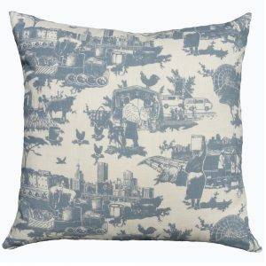 Toile du Jozi: 60cm x 60cm - blue grey on natural