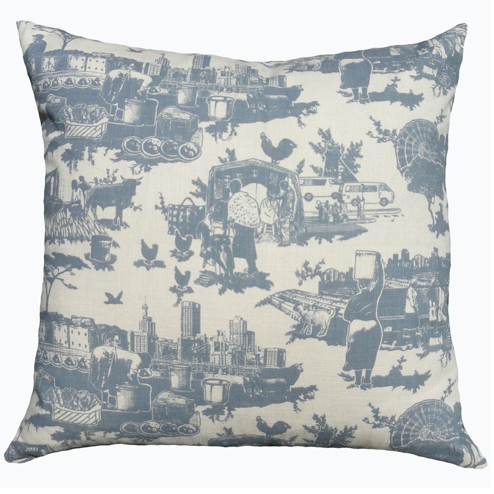 Toile du Jozi: 60cm x 60cm - blue grey on natural