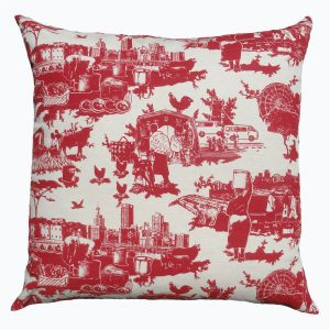 Toile du Jozi: 60cm x 60cm - deep red on cotton linen