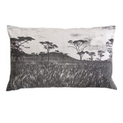 Veld cushion: 43cm x 66cm - charcoal on natural