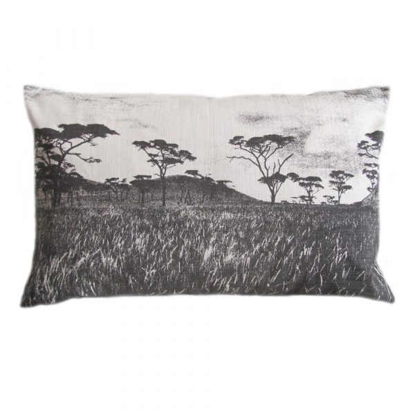 Veld cushion: 43cm x 66cm - charcoal on natural