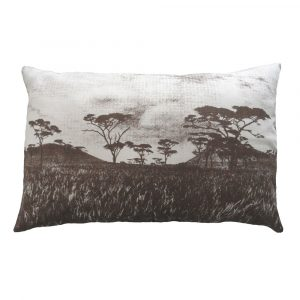 Veld cushion: 43cm x 66cm - brown on natural