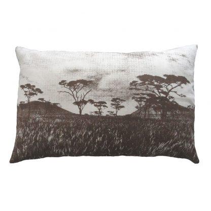 Veld cushion: 43cm x 66cm - brown on natural