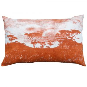 Veld cushion: 43cm x 66cm - burnt orange on natural