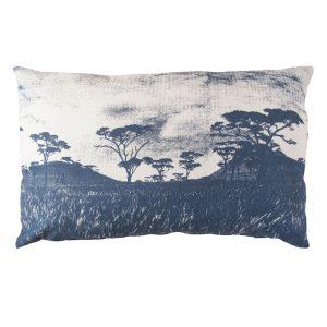 Veld cushion: 45cm x 70cm - blue grey on natural