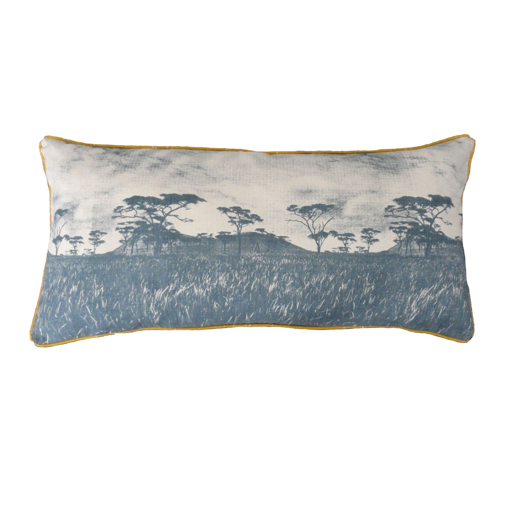 Veld over-sized cushion: 1.2m x 45cm - blue grey on natural with piping