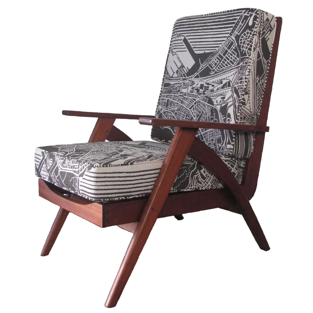 Cape Town weave 1960's chair charcoal on natural
