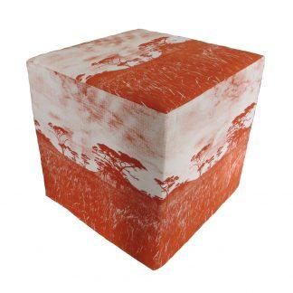 Veld cube ottoman burnt orange on natural