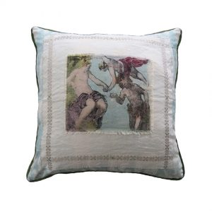 Tinteretto and Toile collage cushion